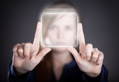 Woman's two hands pointing button, touch screen Stock Images
