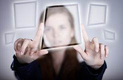 Woman's two hands pointing button, touch screen Stock Photos