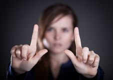 Woman's two hands pointing something Stock Images