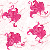 Rosy flowers seamless pattern Stock Images