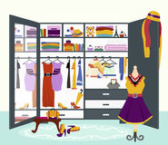 Woman s Wardrobe Vector Flat Design Illustration Stock Images