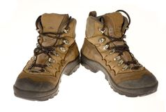 Woman's Well Worn Hiking Boots, Isolated Stock Images