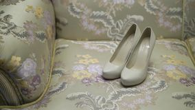 Woman`s shoes indoors stock video