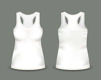 Woman`s white sleeveless tank top in front and back views. Vector illustration with realistic male shirt template. Fully editable handmade mesh. 3d singlet Stock Images