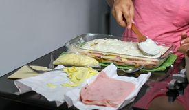 woman& x27; s wr?cza kulinarnego lasagna, makaronu, baleronu i sera lasagne, fotografia royalty free