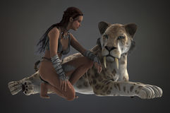 Woman and sabertooth Stock Images