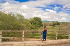 Woman at Sabi river bridge, Malawi Royalty Free Stock Images