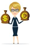 Woman with sacks of money on white Royalty Free Stock Photo