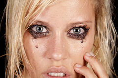 Woman sad close eyes Stock Photography