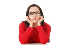 Woman with sad expression Royalty Free Stock Photo
