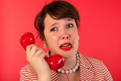 Woman with sad phone call Royalty Free Stock Image