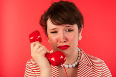 Woman with sad phone call Stock Photography