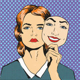 Woman with sad unhappy face holding mask fake smile. Vector illustration in comic retro pop art style Stock Photography