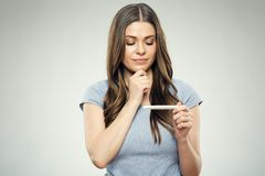 Woman with sadness from negative pregnansy test. Isolated portrait Royalty Free Stock Photo