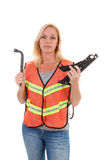Woman in safety vest Stock Images