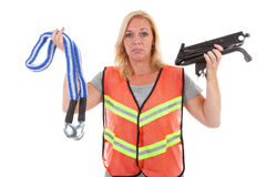 Woman in safety vest Royalty Free Stock Photo
