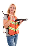 Woman in safety vest Stock Photo