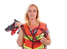 Woman in safety vest stock photos