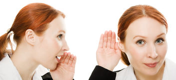 Woman said and woman listening to gossip isolated Stock Photography