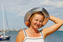 Woman at the sailboat. Royalty Free Stock Images