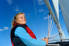 Woman sailing Stock Photo
