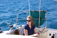 Woman Sailing stock photography