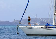 Woman on the sailing boat in BVI stock image