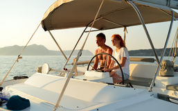 Woman sailing in the yacht Royalty Free Stock Photos