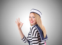 Woman sailor against the gradient background Royalty Free Stock Photo