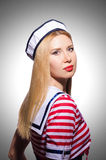 Woman in sailor costume. Marine concept Royalty Free Stock Image