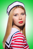 Woman in sailor costume Stock Images