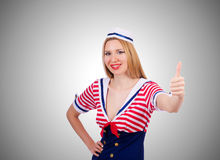 Woman in sailor costume  - marine concept. The woman in sailor costume  - marine concept Royalty Free Stock Image