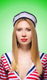 Woman in sailor costume  - marine concept Royalty Free Stock Images