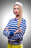 Woman in sailor costume. On white Stock Photography