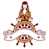Woman sailor emblem Stock Images