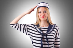 Woman sailor. In marine concept Royalty Free Stock Images