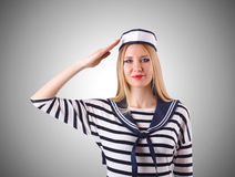 Woman sailor in marine concept. The woman sailor in marine concept Royalty Free Stock Photos