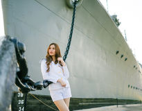 Woman sailor standing Stock Photography