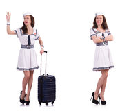 The woman sailor with suitcase isolated on white Stock Images