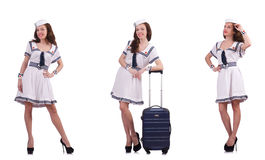 The woman sailor with suitcase isolated on white Stock Photography