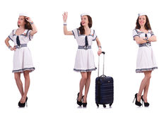 The woman sailor with suitcase isolated on white Royalty Free Stock Images