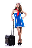 Woman sailor. With suitcase on white Royalty Free Stock Photos