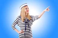 Woman sailor. On the white background Stock Photos