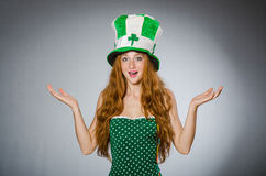 Woman in saint patrick Stock Photo