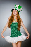 The woman in saint patrick concept Stock Images