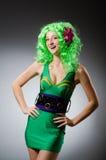 The woman in saint patrick concept Stock Photos