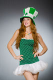 Woman in saint patrick concept Stock Images