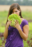Woman with a salad. Stock Photos