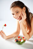 Woman with salad Royalty Free Stock Images