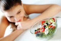 Woman with salad stock image